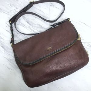 Fossil Espresso Preston Large Flap Crossbody Bag